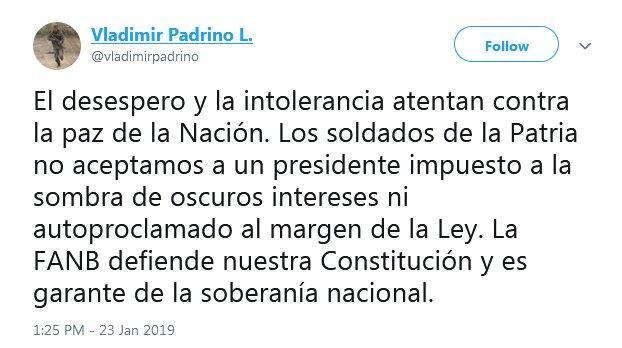 وزیر دفاع ونزوئلا: رییس جمهوری تحمیلی را نمی پذیریم